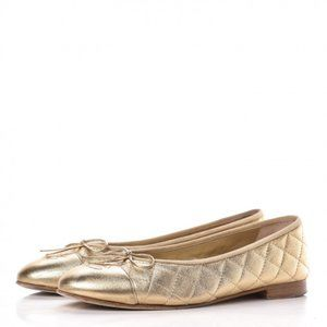 CHANEL Gold Quilted CC Cap Toe ballerina Flats
